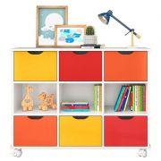 Nicho Organizador Linus com 6 Gavetas Qmovi Cor Laranja, Amarelo e Vermelho