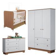 Quarto de Bebê Carícia 3 Portas Móveis Estrela Cor Branco Acetinado Amadeirado