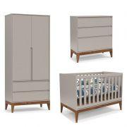 Quarto de Bebê Nature Clean 2 Portas Matic Cor Cinza Eco Wood