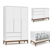 Quarto De Bebê Nature Clean 3 Portas Matic Cor Branco Soft