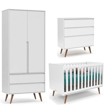 Quarto de Bebê Retrô Clean 2 Portas Matic Branco Eco Wood