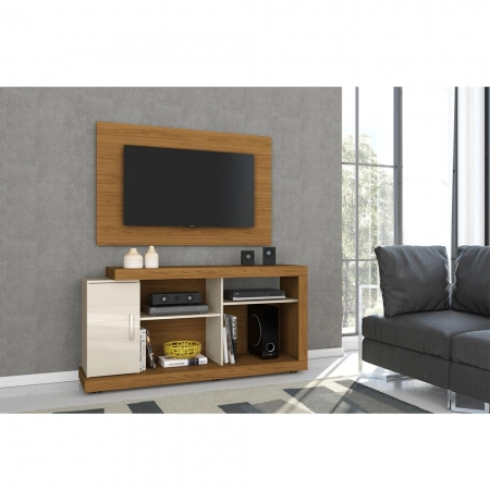 Rack Miguel e Painel Frank TV 50 Madetec Naturale Off White