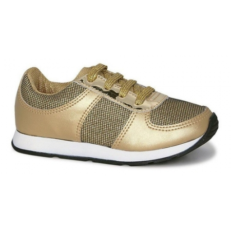 Tênis Infantil Diversão Gliter Sugar Shoes Cor Ouro - N°25