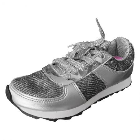 Tênis Infantil Diversão Gliter Sugar Shoes Cor Prata - N°25