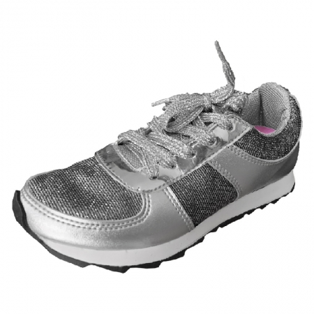 Tênis Infantil Diversão Gliter Sugar Shoes Cor Prata - N°30