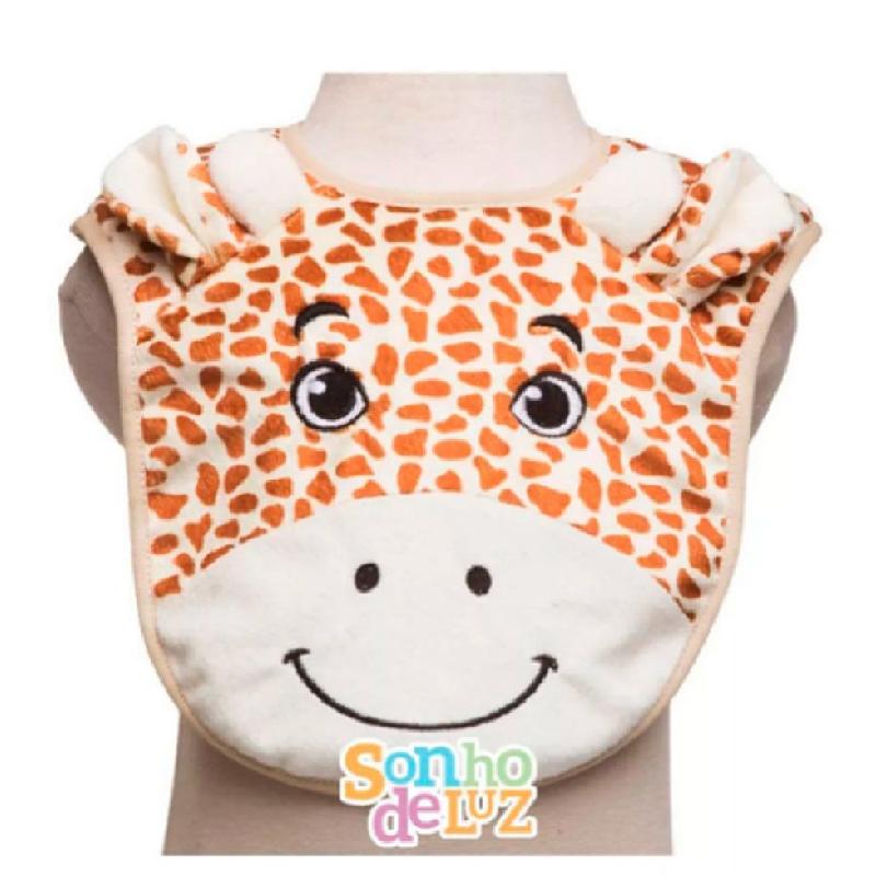 Babador Infantil Sonho De Luz Cor Branca Modelo Girafa