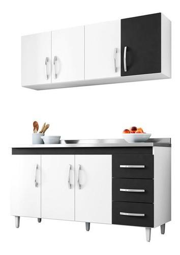 Balcão Cozinha Isabel E Aéreo 4 Portas Ajl Cor Branco/preto