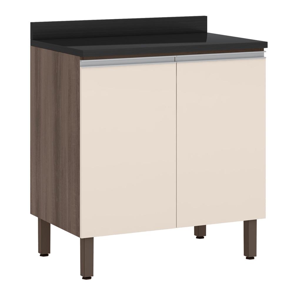 Balcão de cozinha 80 cm 2 Portas Rud Rack - Malbec/Off White