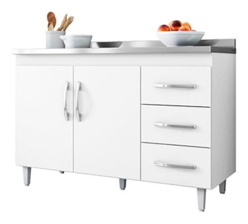 Balcão De Cozinha Isabel 100 Cm Branco Brilho Com Tampo Ajl
