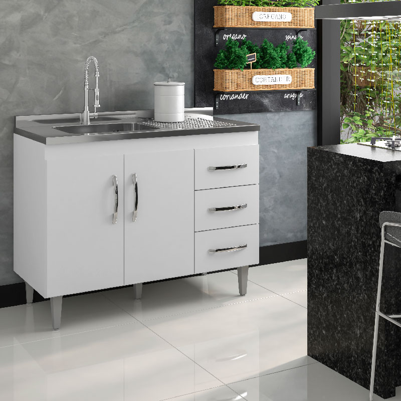 Balcão De Cozinha Isabel 1,00 M Ajl Móveis Cor Branco