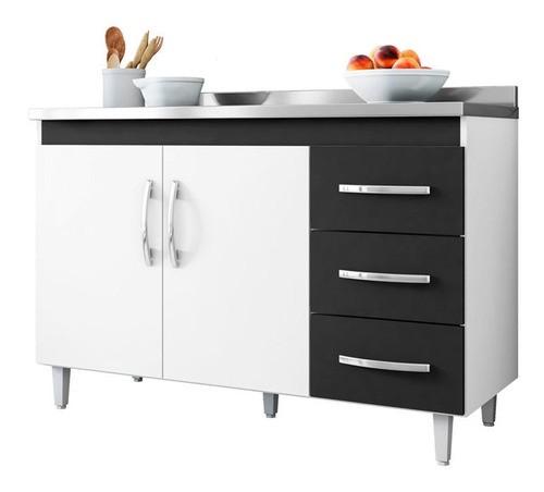 Balcão De Cozinha Isabel 1,00 M Ajl Móveis Cor Branco/preto