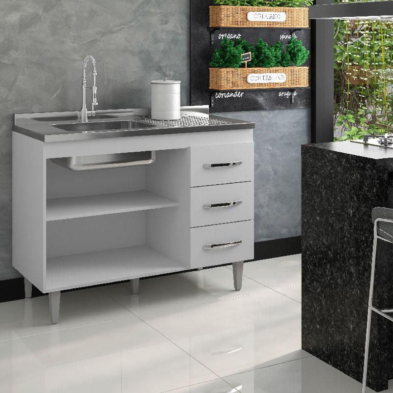 Balcão De Cozinha Isabel 1,20 M Ajl Móveis Cor Branco
