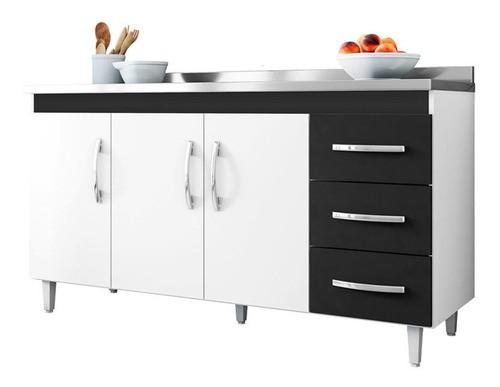 Balcão De Cozinha Isabel 1,50 M Ajl Cor Branco E Preto
