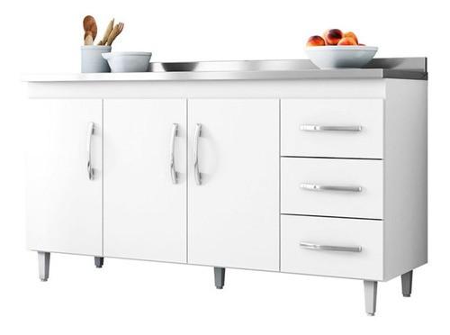 Balcão De Cozinha Isabel 1,50 M Ajl Móveis Cor Branco