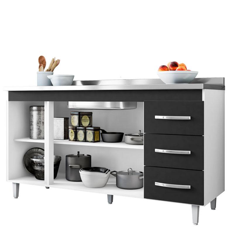 Balcão de Cozinha Isabel 1,60 m AJL Móveis Cor Branco/Preto