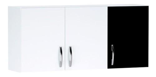 Balcão De Cozinha Isabel e Aéreo 1,20m AJL Cor Branco/preto