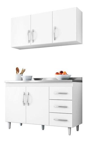 Balcão De Cozinha Isabel E Aéreo 1,20m Ajl Móveis Cor Branco