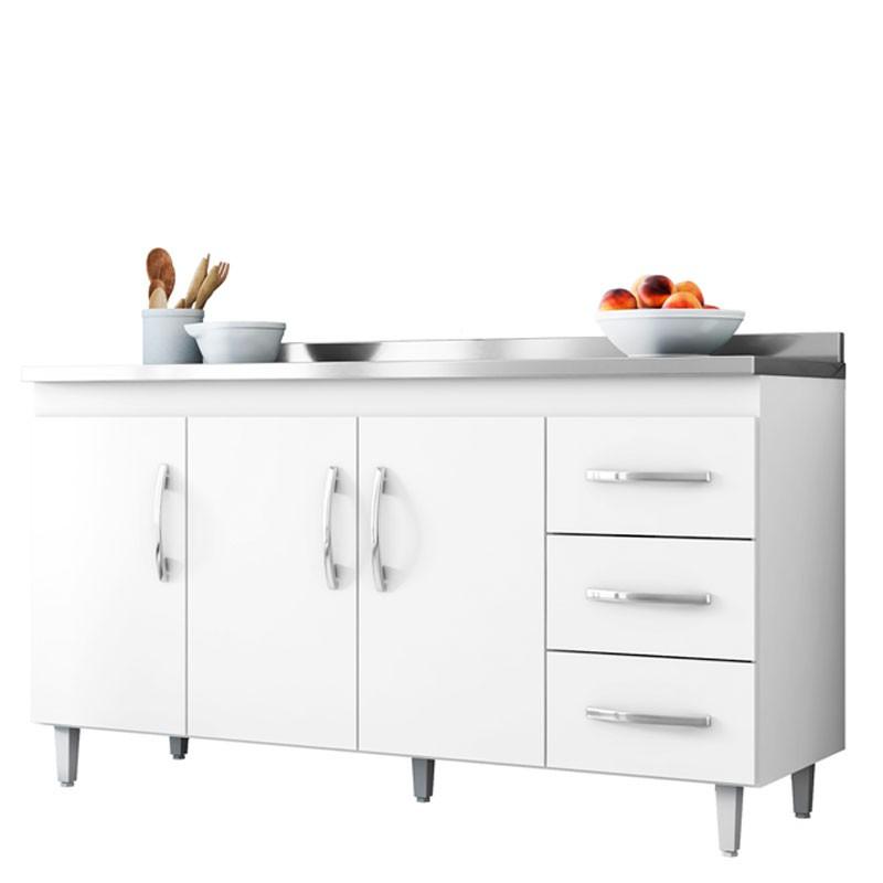 Balcão de Cozinha Isabel e Aéreo 4 Portas AJL Cor Branco