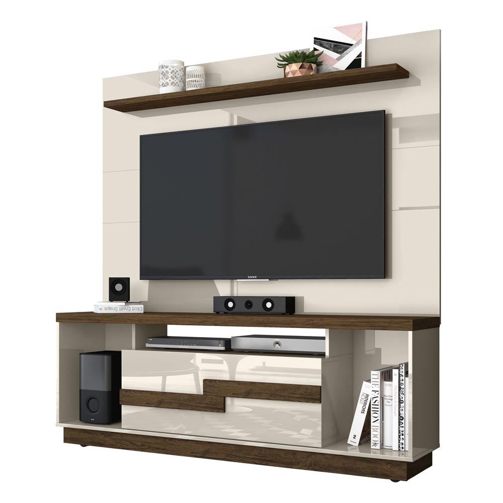 Bancada Bia e Painel Lorenzo TV 60 Madetec Off White Savana