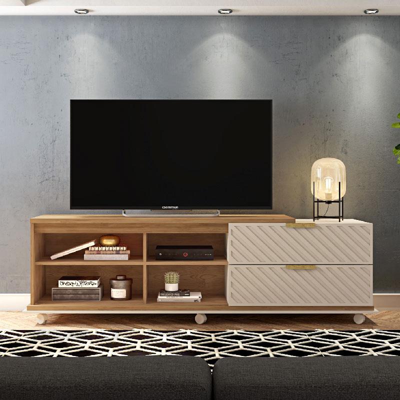 "Bancada Harmony 1.8 para TV até 75"" Caemmun Buriti/Off White"