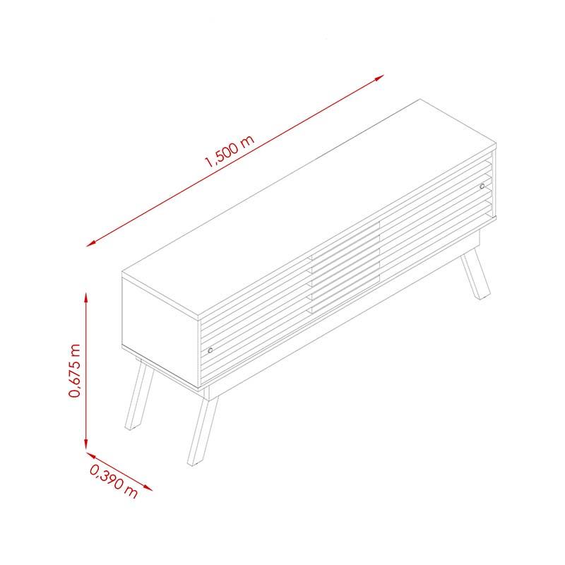 Bancada Para Tv 65 Frizz 1.5 Madetec Cor Naturale Off White