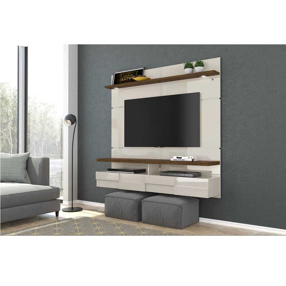 Bancada Suspensa Lana 160 cm TV 60 Madetec Off White Savana