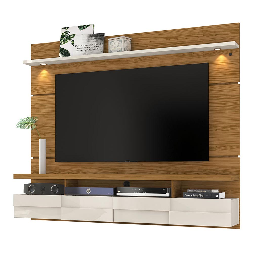 Bancada Suspensa Lana 180 cm TV 60 Madetc Naturale Off White
