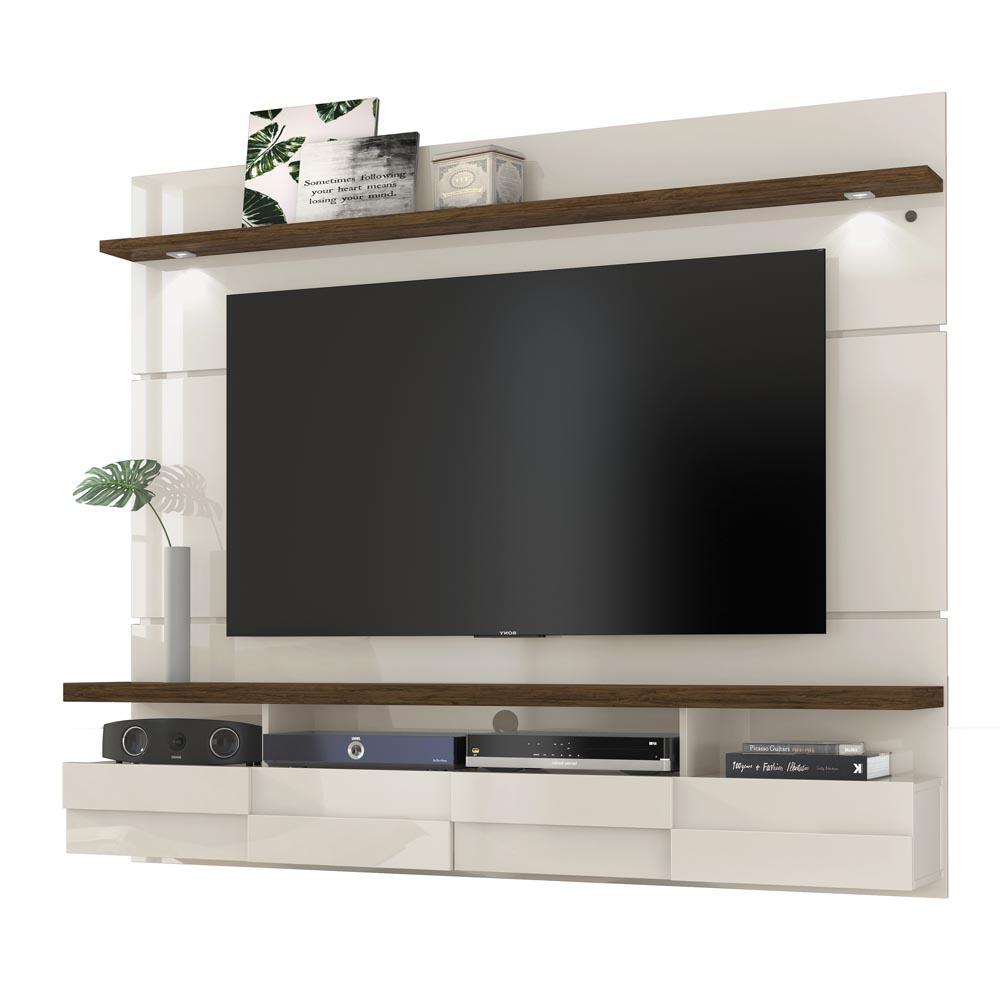 Bancada Suspensa Lana 180 cm TV 60 Madetec Off White Savana