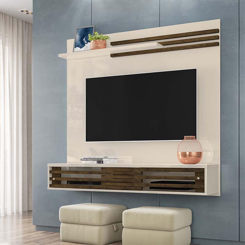 Bancada TV 55 Polegadas Suspensa Frizz  Sublime Cor Off White Savana