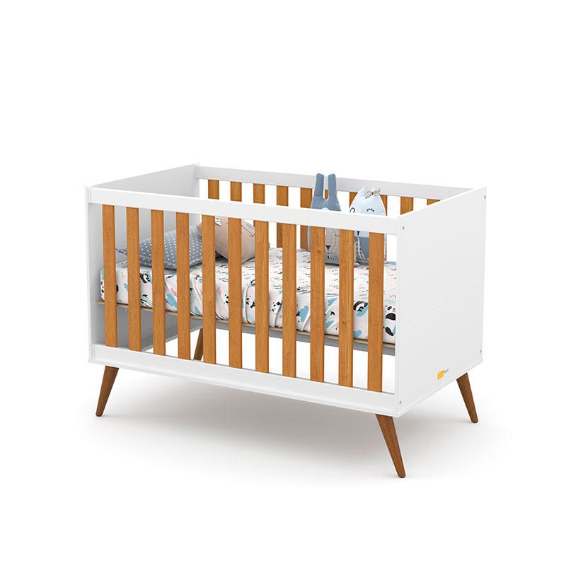 Berço Americano Gold Matic Cor Branco Soft Freijó/Eco Wood