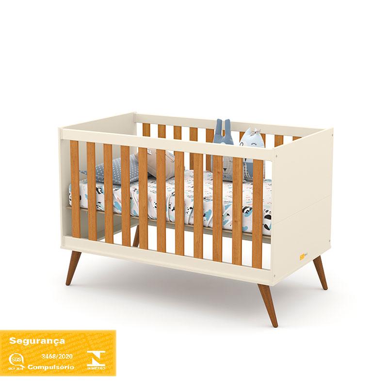 Berço Americano Gold Matic Cor Off White Freijó/Eco Wood