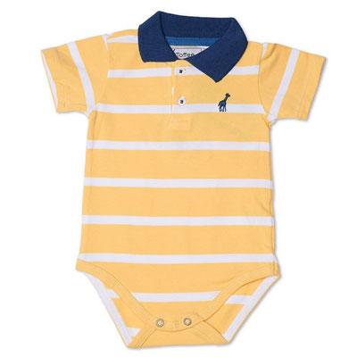 Body Infantil Gola Polo Amarelo Toffee - Nº6 a 9 meses