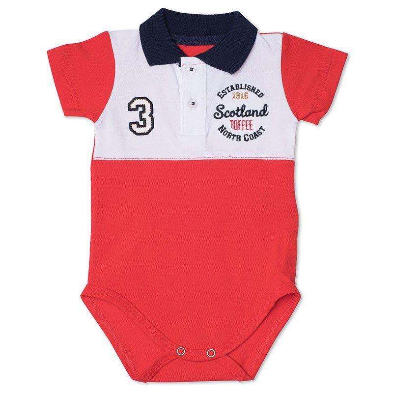 Body Infantil Gola Polo com Recorte Toffee Cor Vermelho - Nº6 a 9 meses