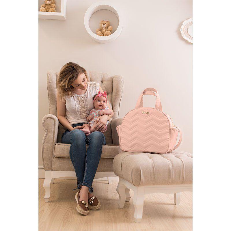 Bolsa Maternidade com Trocador Chevron Hug Cor Rosa