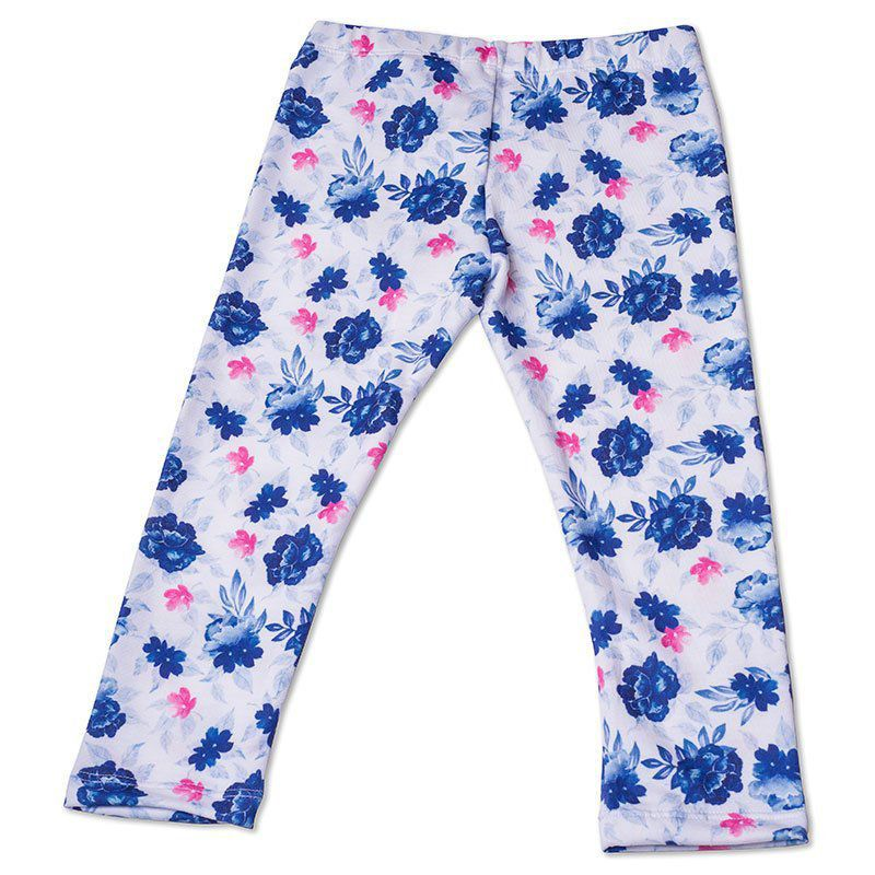 Calça Legging Infantil Floral Azul Toffee