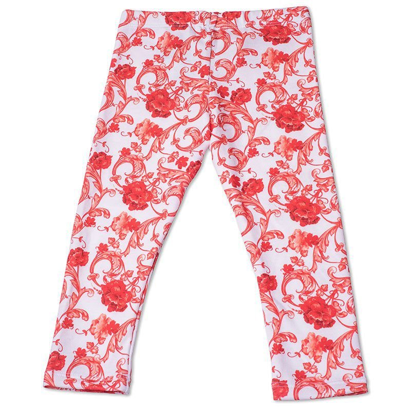 Calça Legging Infantil Floral Laranja Toffee - Nº02