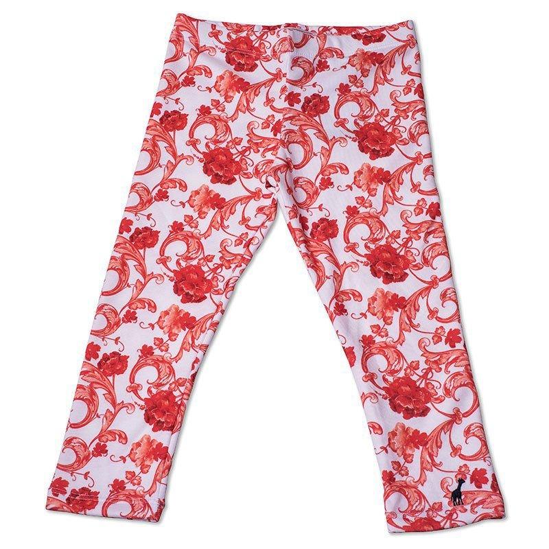 Calça Legging Infantil Floral Laranja Toffee - Nº06