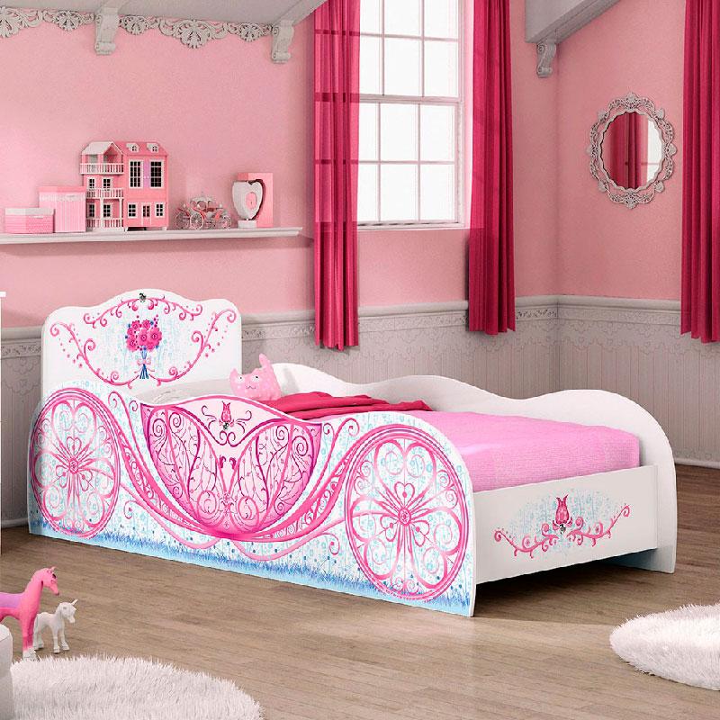 Cama Carruagem Pura Magia Cor Branco/Rosa