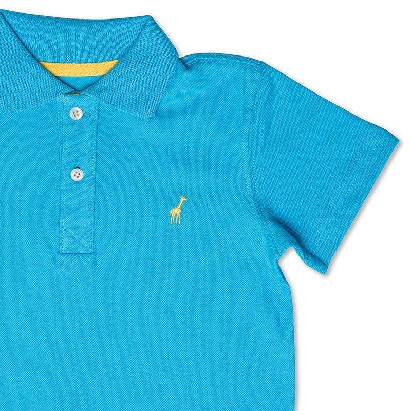 Camiseta Polo Infantil Azul Turquesa Toffee - Nº04