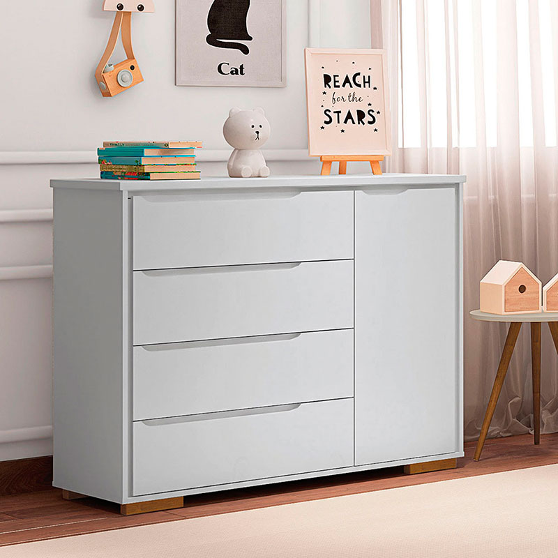 Cômoda Infantil 4 Gavetas Sloan Móveis Estrela Cor Branco