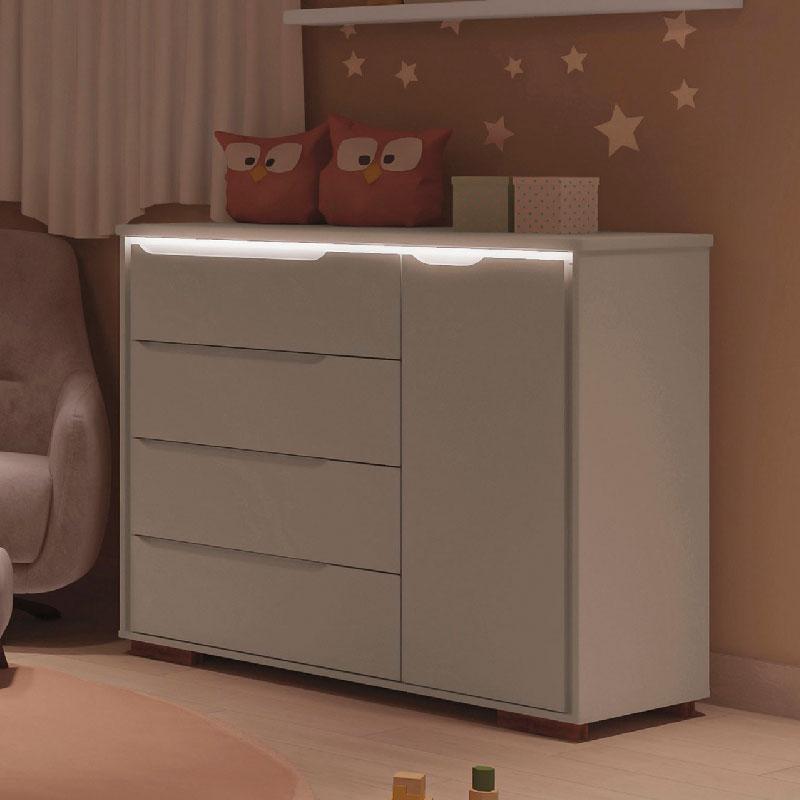 Cômoda Infantil 4 Gavetas Sloan Móveis Estrela Cor Off White