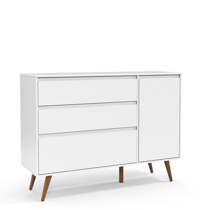 Cômoda Retrô Clean 3 Gavetas Matic Cor Branco Soft Eco Wood