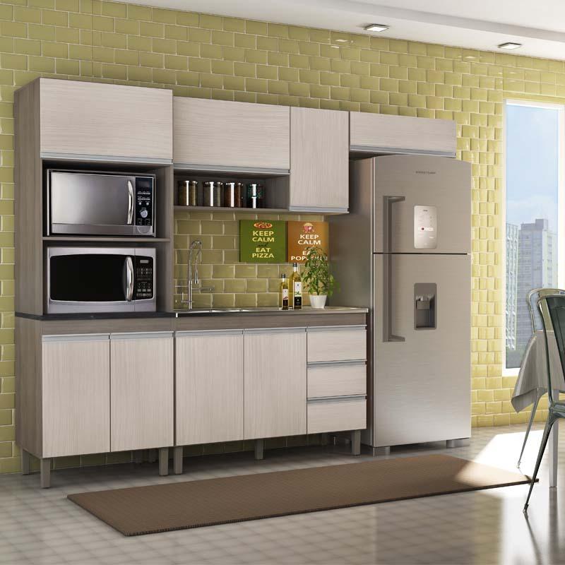 Composição Cozinha Karen 04 módulos Peternella  Malbec Avelã