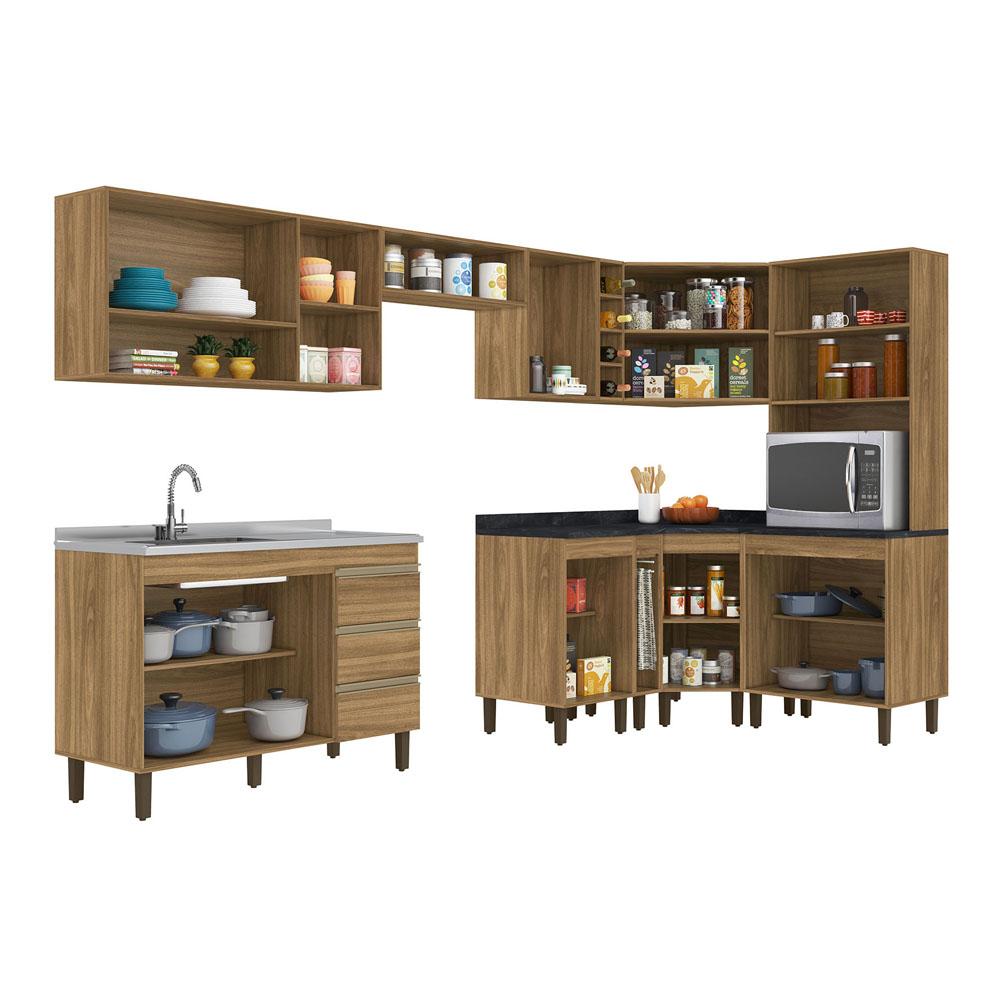 Composição Cozinha Karen 10 módulos Peternella Cor Nature
