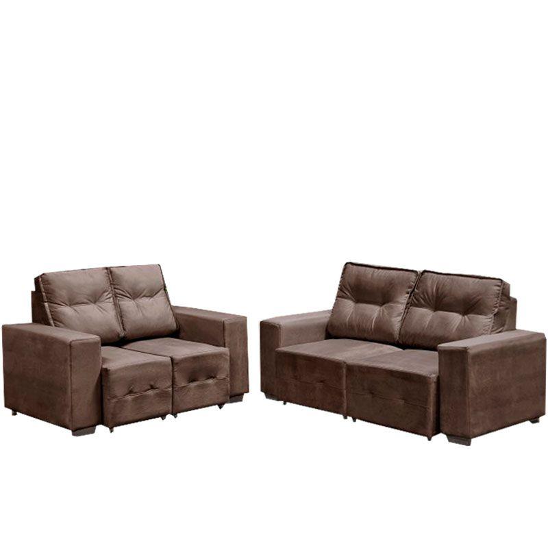 Conjunto sofá 2 e 3 Lugares Macan Retrátil Fratello Cor Marrom