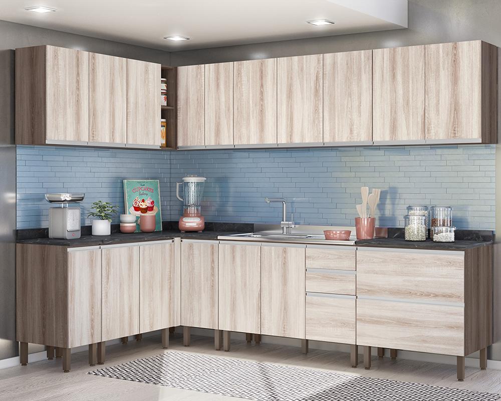 Cozinha Modulada Lis 10 módulos Rud Rack Cor Malbec Essence
