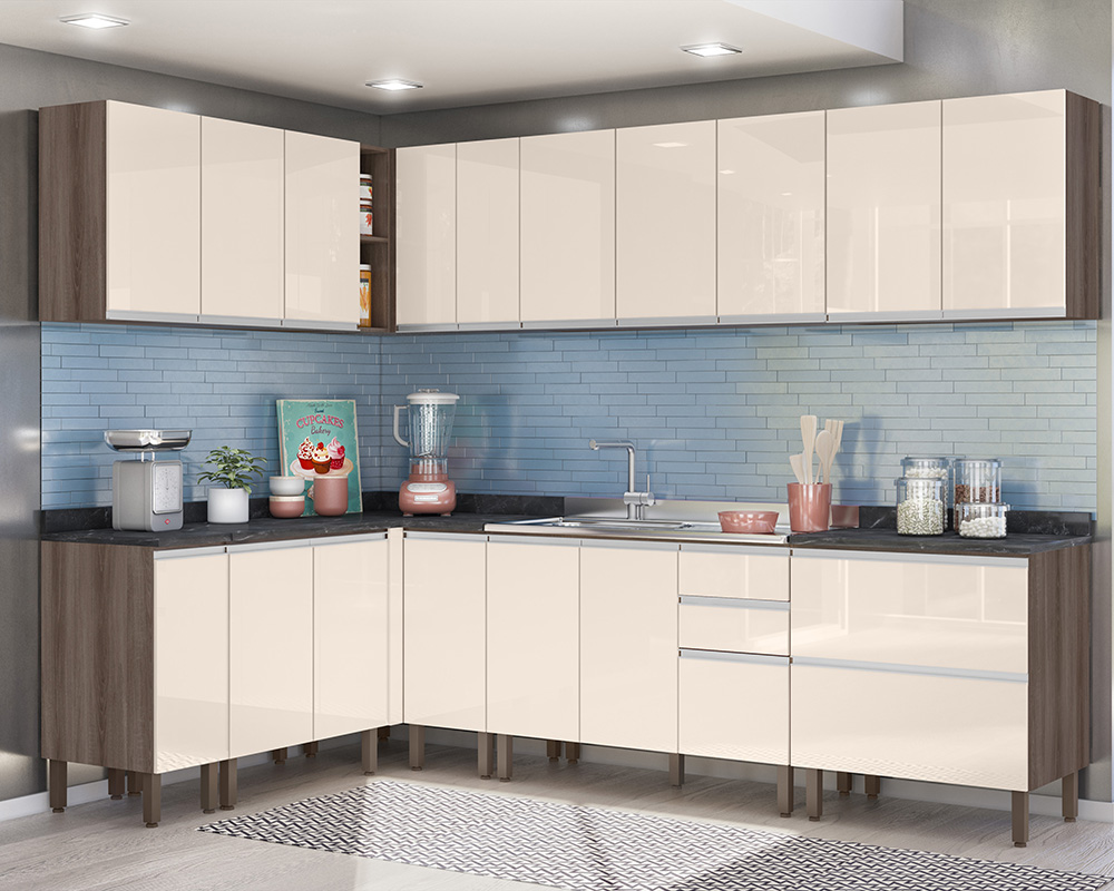 Cozinha Modulada Lis 10 módulos Rud Rack Cor Malbec/Off White