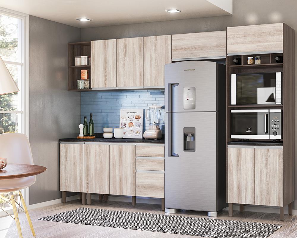 Cozinha Modulada Lis 6 módulos Rud Rack Cor Malbec Essence