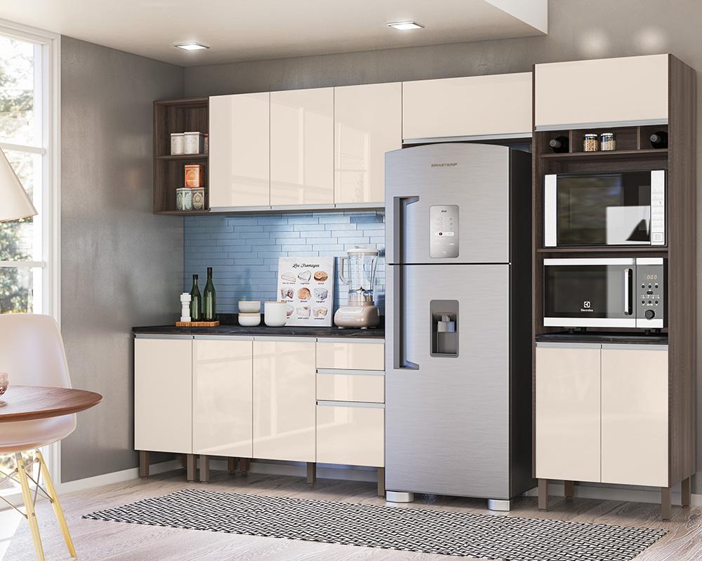 Cozinha Modulada Lis 6 módulos Rud Rack Cor Malbec Off White