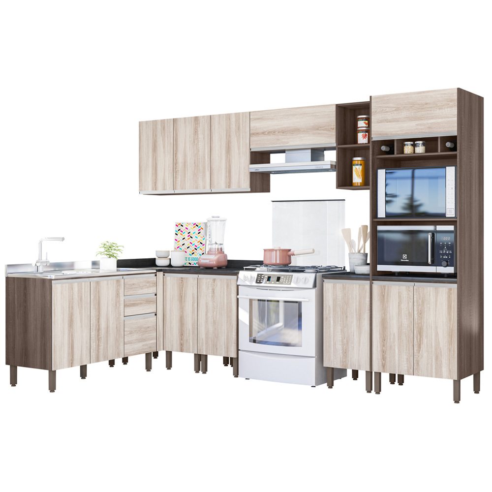 Cozinha Modulada Lis 8 módulos Rud Rack Cor Malbec Essence